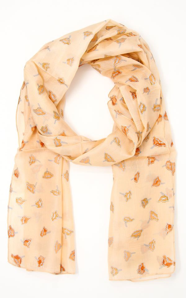 Light beige soft touch lightweight elegant pure silk summer scarf with small detail