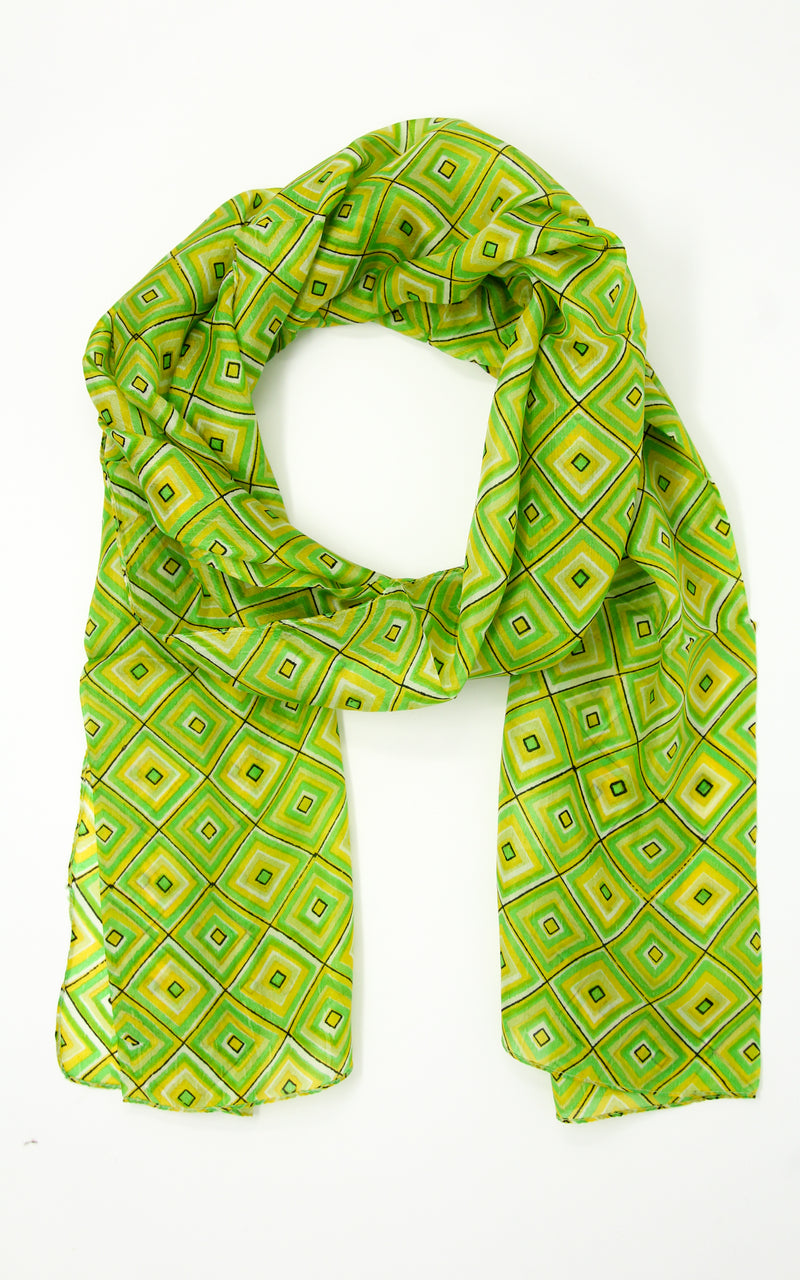 Vibrant green multipurpose weightless elegant pure silk summer scarf