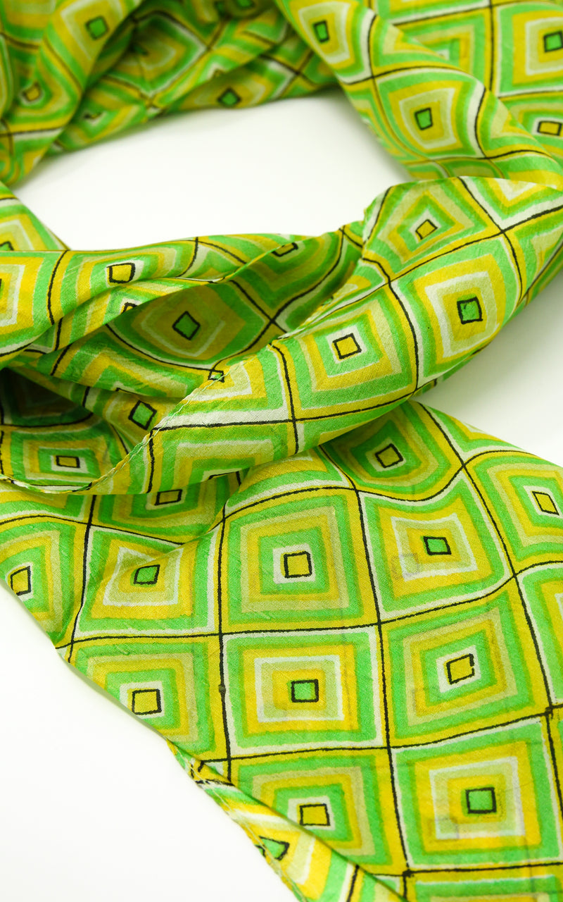 Vibrant green shape designed  soft touch elegant pure silk summer scarf
