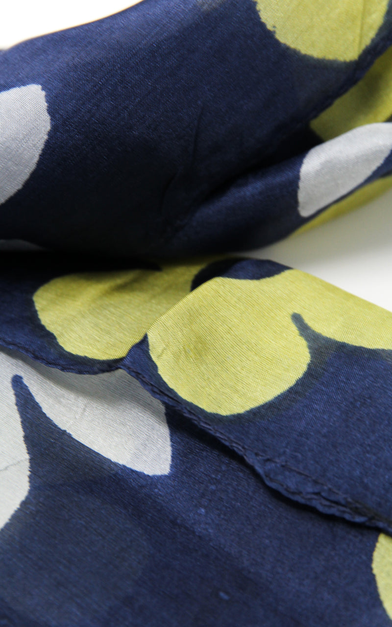 Close up of Navy  summer 100% silk scarf with  yellow and white floral design