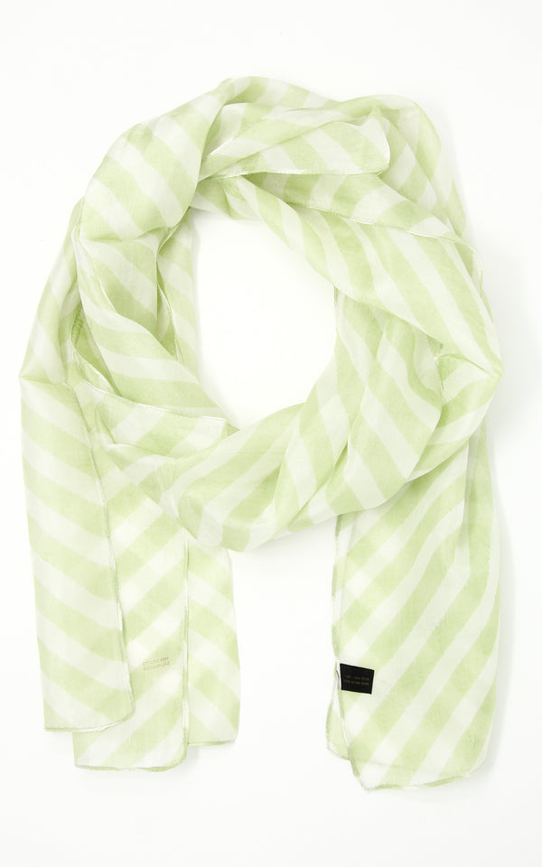 Light green summer inspired silk scarf with light pattern detail