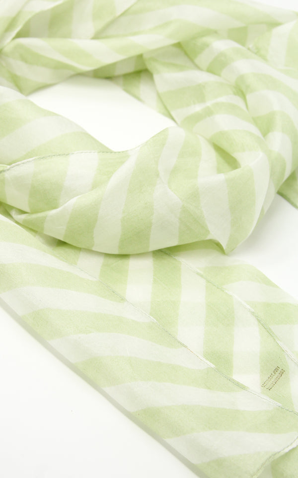 Light green summer inspired 100% pure silk scarf with patterned detail