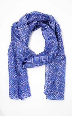 Purple blue patterned summer elegant silk scarf with shape detail and design