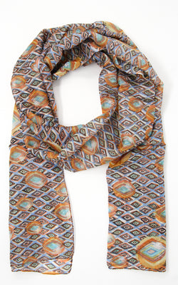 Unique patterned orange and beige lightweight free flowing summer silk scarf