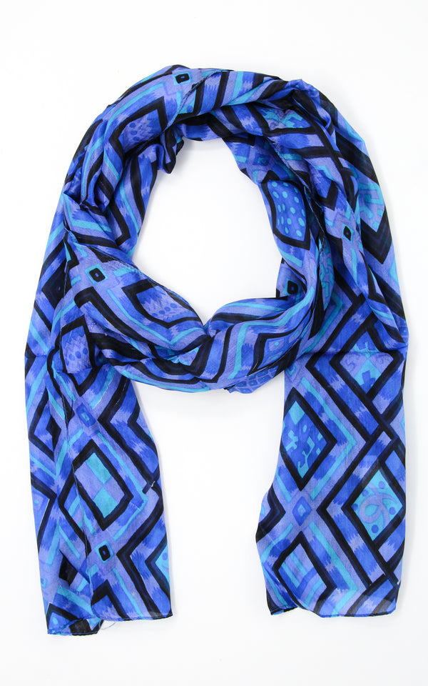 Bright blue with square shapes stylish summer 100% silk scarf