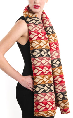 Geometric snowflake pattern tibet shawl with red beige back accents