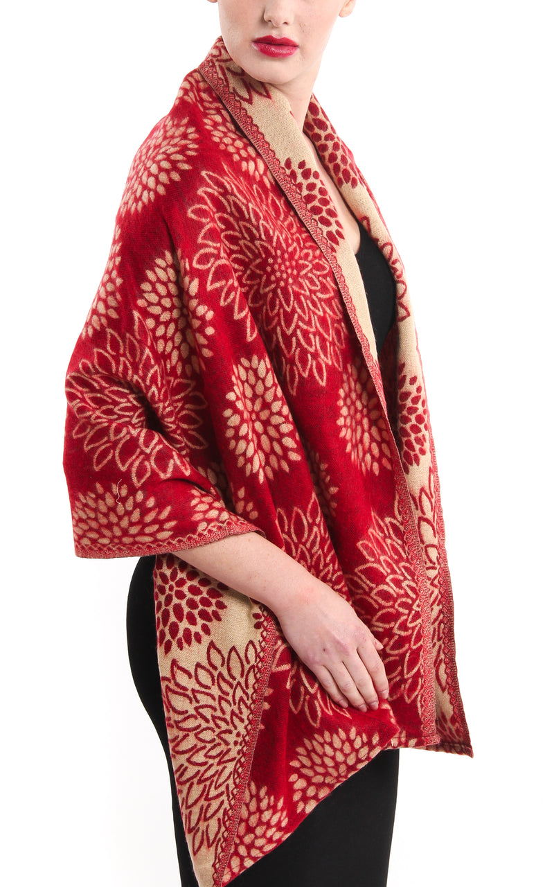 red cream crysanthemum floral patterned reversible Himalayan tibet shawl  draped around shoulders
