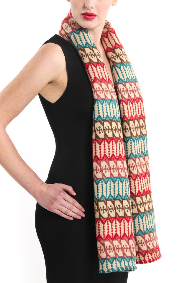 Geometric patterned modern Himalayan reversible Tibet shawl red green blue accents