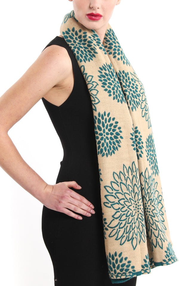 Chrysanthemum teal blue floral patterned reversible Himalayan tibet knit shawl with cream side