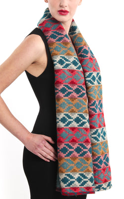 Geometric patterned overlay Himalayan reversible Tibet shawl with colourful accents
