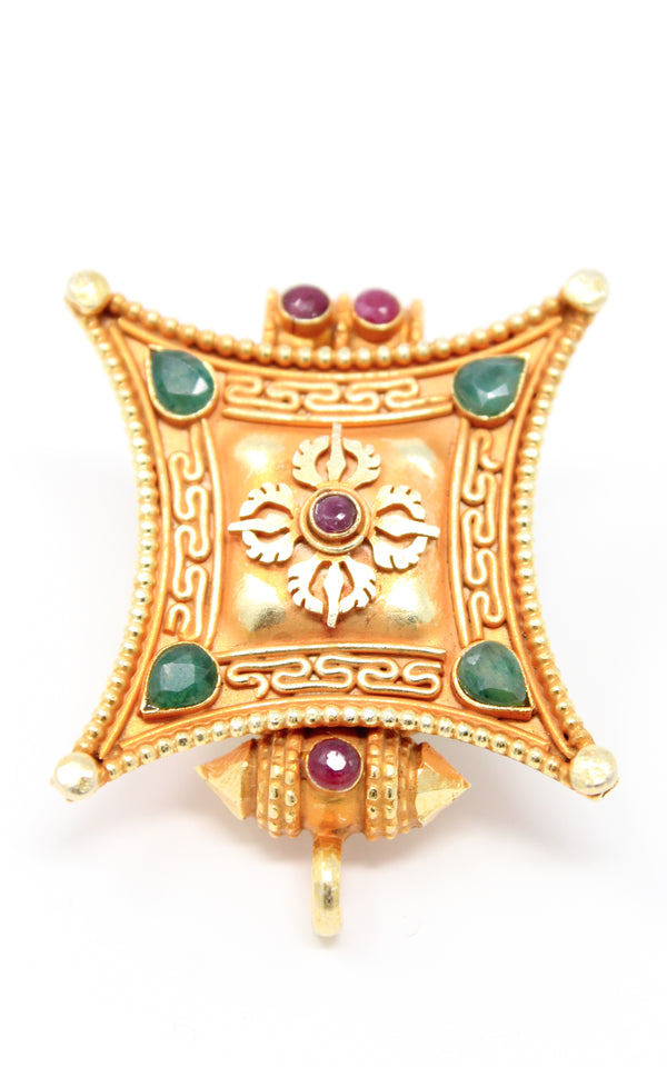 Gold Double Dorjee Locket Pendant  ruby emerald accents close up