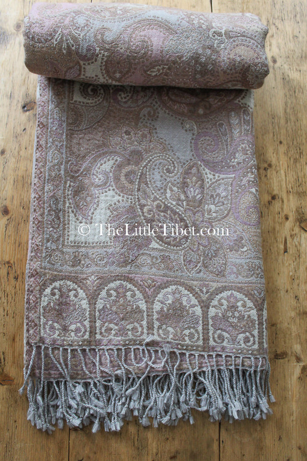 100% pure lambswool pastel pink beige brown paisley reversible  boiled wool blanket