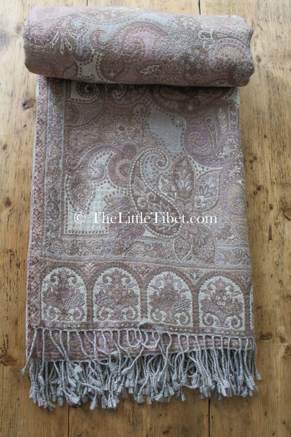 100% pure lambswool pastel pink beige brown paisley reversible  boiled wool blanket with tassels