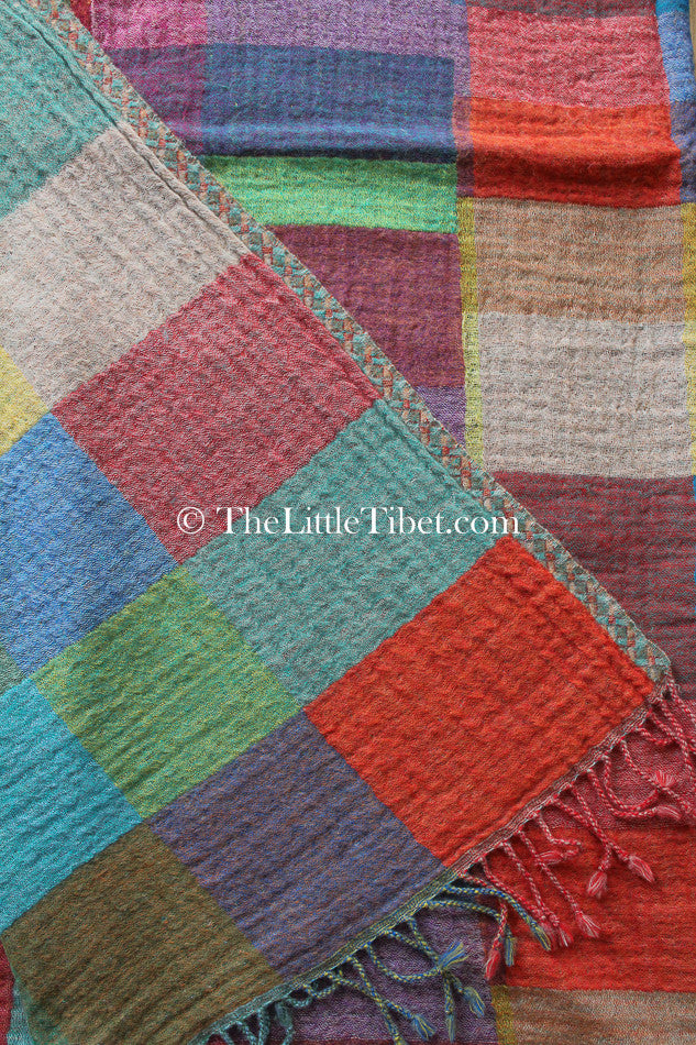 100% lambswool multicoloured check reversible boiled wool blanket close up
