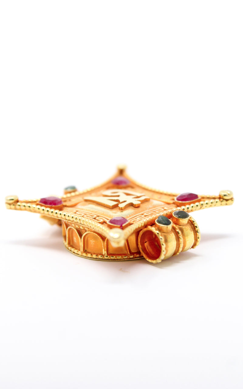 Gold Plated Om Locket Pendant with ruby emerald stones side view