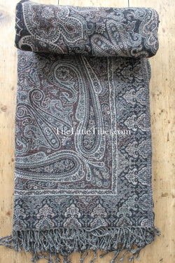 100% lambswool ash brown paisley design boiled wool blanket