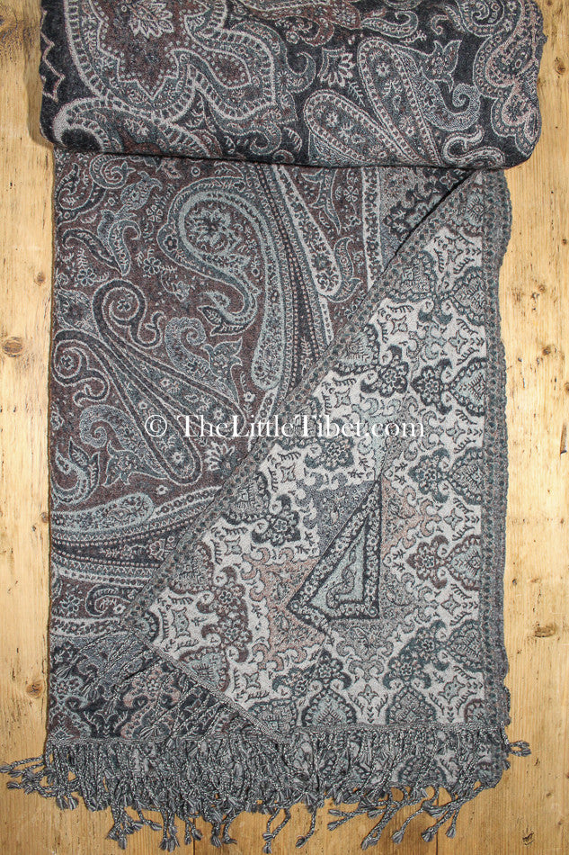 100% lambswool ash brown paisley design boiled wool blanket opened up