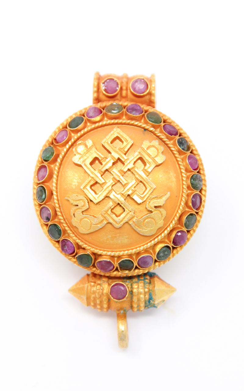 circular Gold Plated Endless Knot auspicious symbol Locket ruby emerald turquoise coral