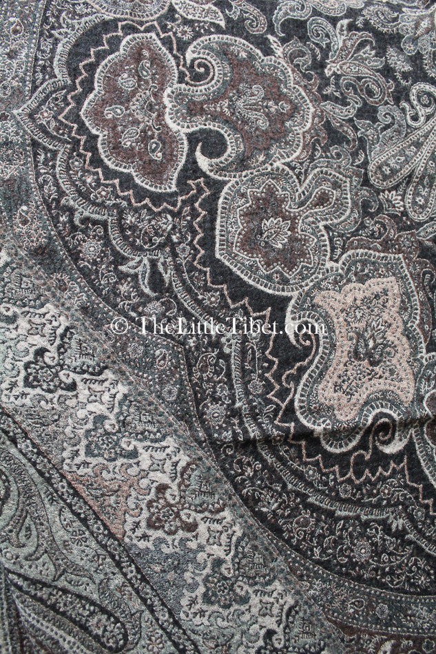100% lambswool ash brown paisley design boiled wool blanket hand loom close up