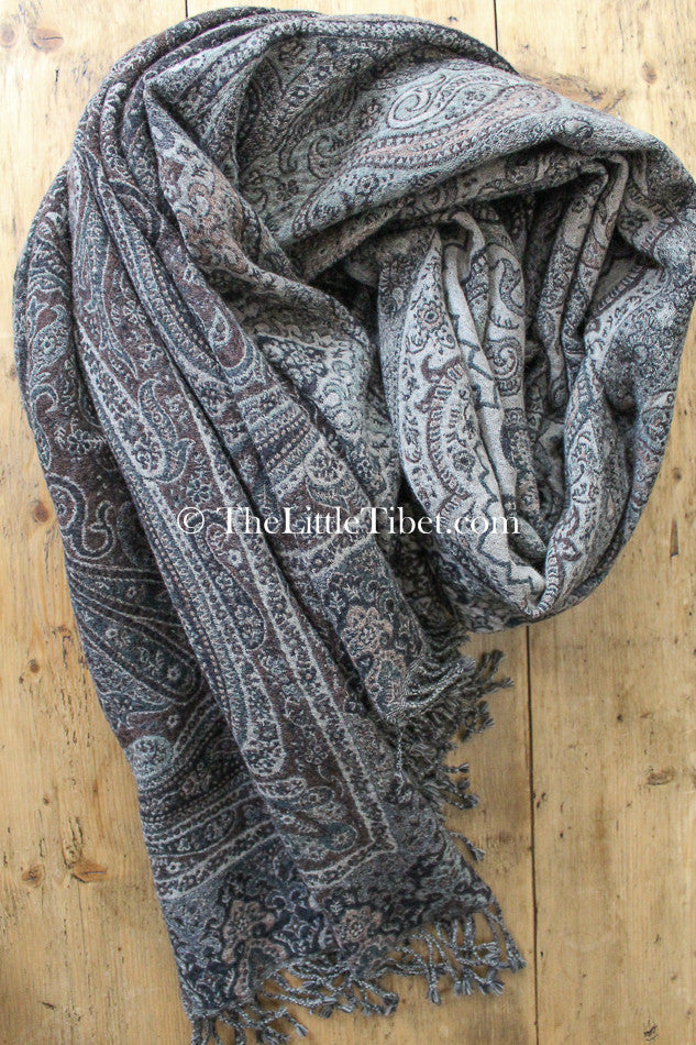 100% lambswool ash brown paisley design boiled wool blanket free uk shipping