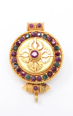 circular Gold Plated Double Dorjee Locket ruby emerald stones