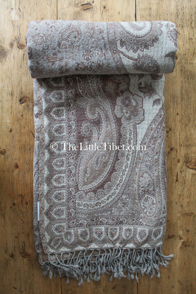 100% pure lambswool creamy beige brown paisley  boiled wool blanket