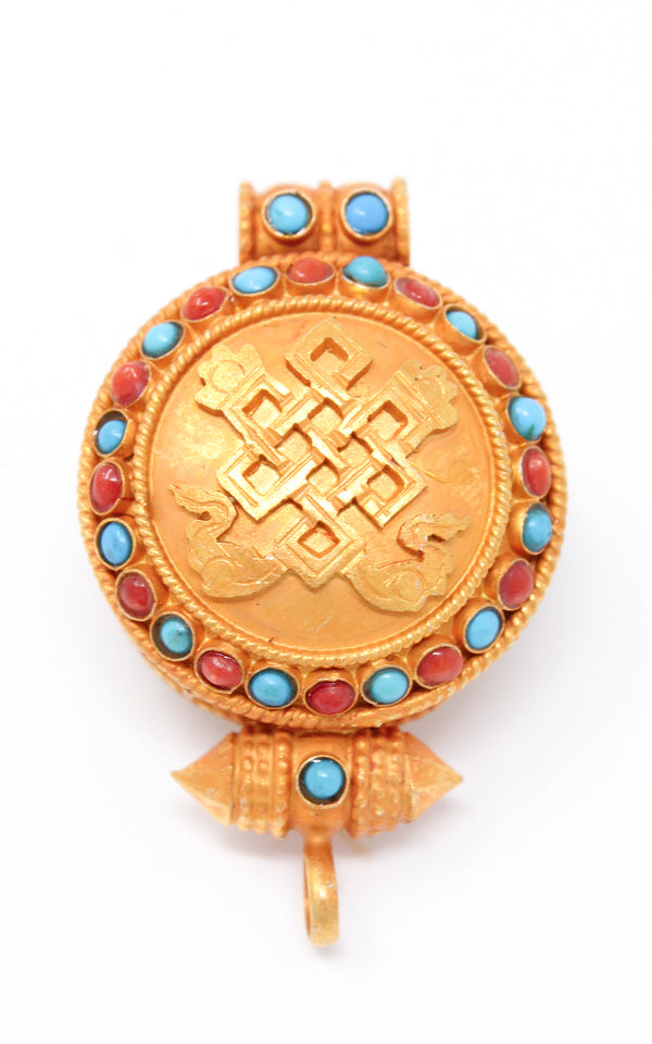 Gold Plated Endless Knot auspicious symbol Locket