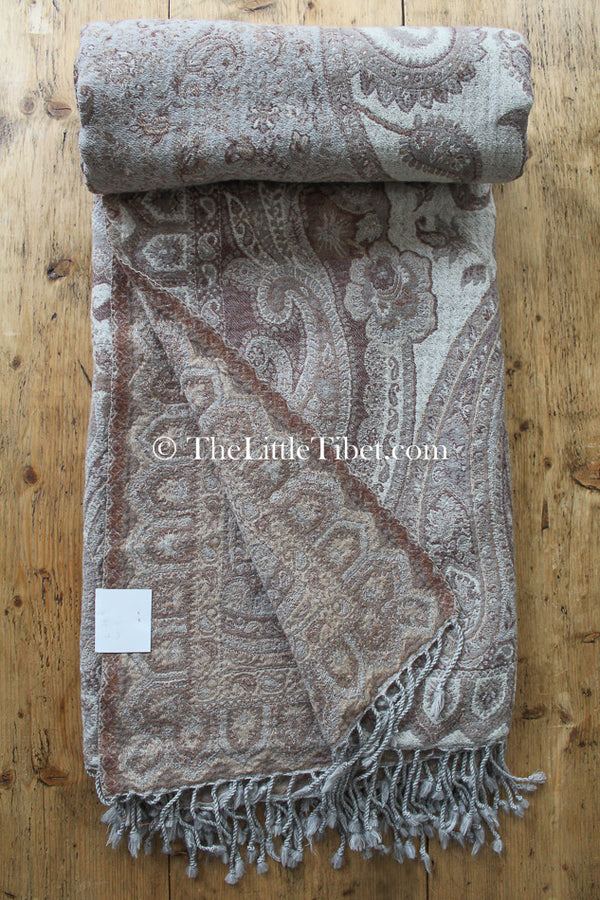 100% pure lambswool creamy beige brown paisley  boiled woollen blanket