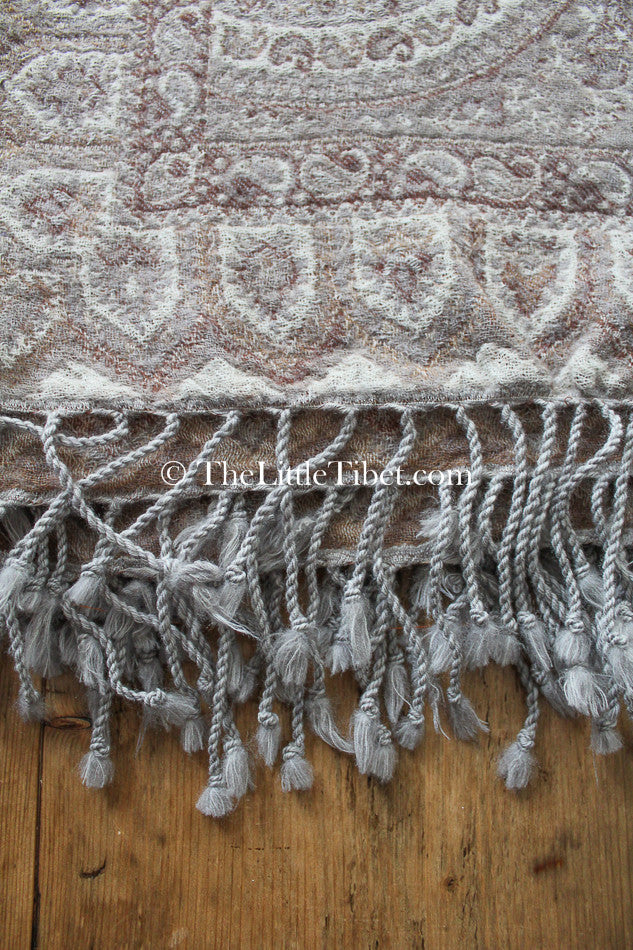 100% pure lambswool creamy beige brown paisley  boiled wool blanket with tassels