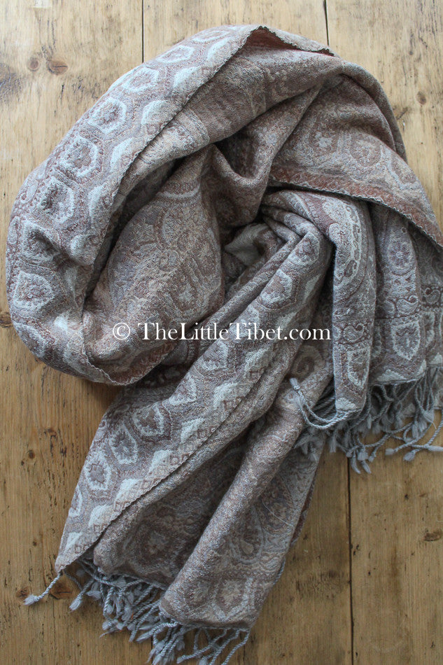 Creamy Beige Paisley Boiled Wool Blanket, The Little Tibet