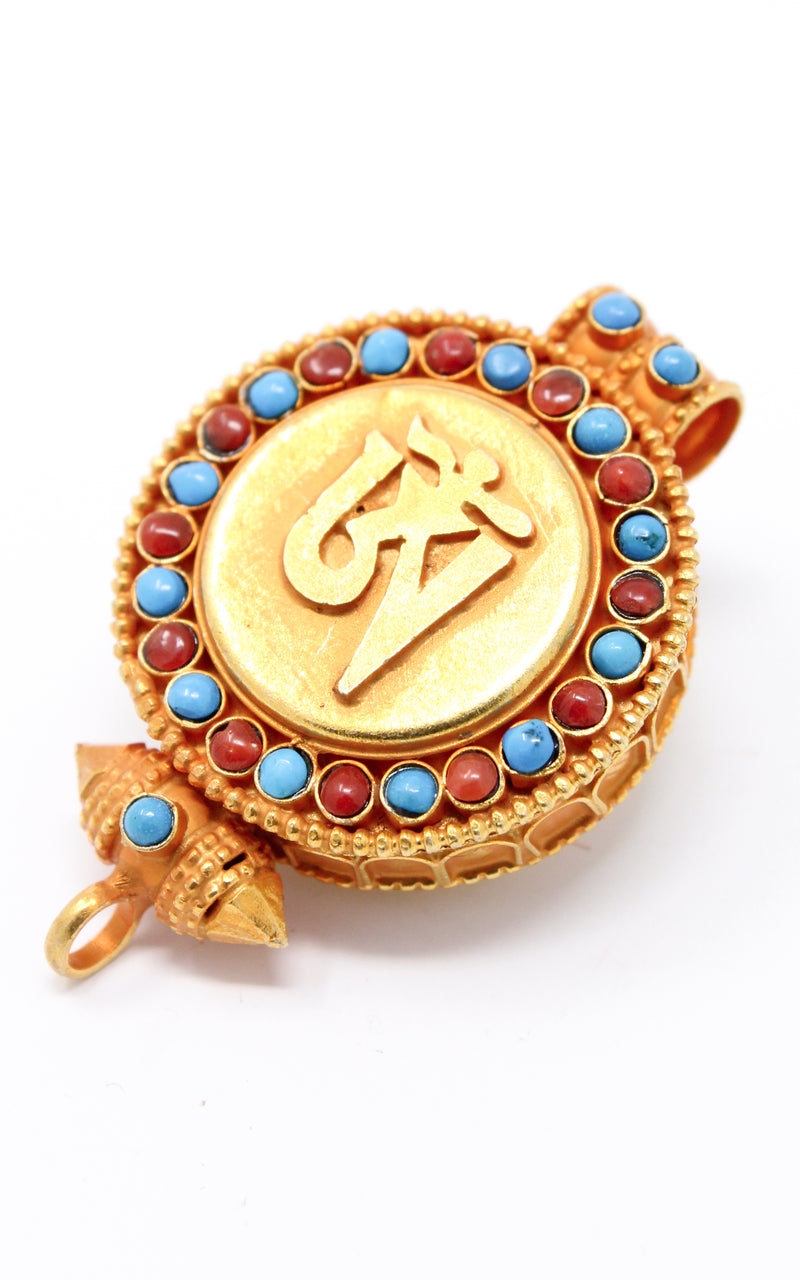 circular Gold Om Locket Pendant turquoise coral side view