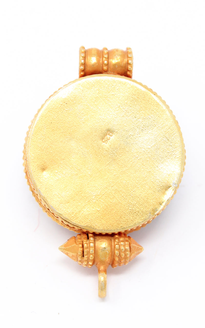 circular Gold Om Locket Pendant turquoise coral detail back close up