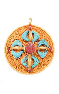 Circular Gold silver Double Dorjee thunderbolt Pendant turquoise coral ruby accents exterior