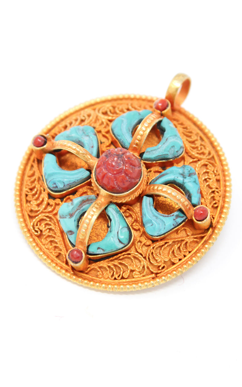 Circular Gold silver Double Dorjee thunderbolt Pendant turquoise coral ruby accents close up