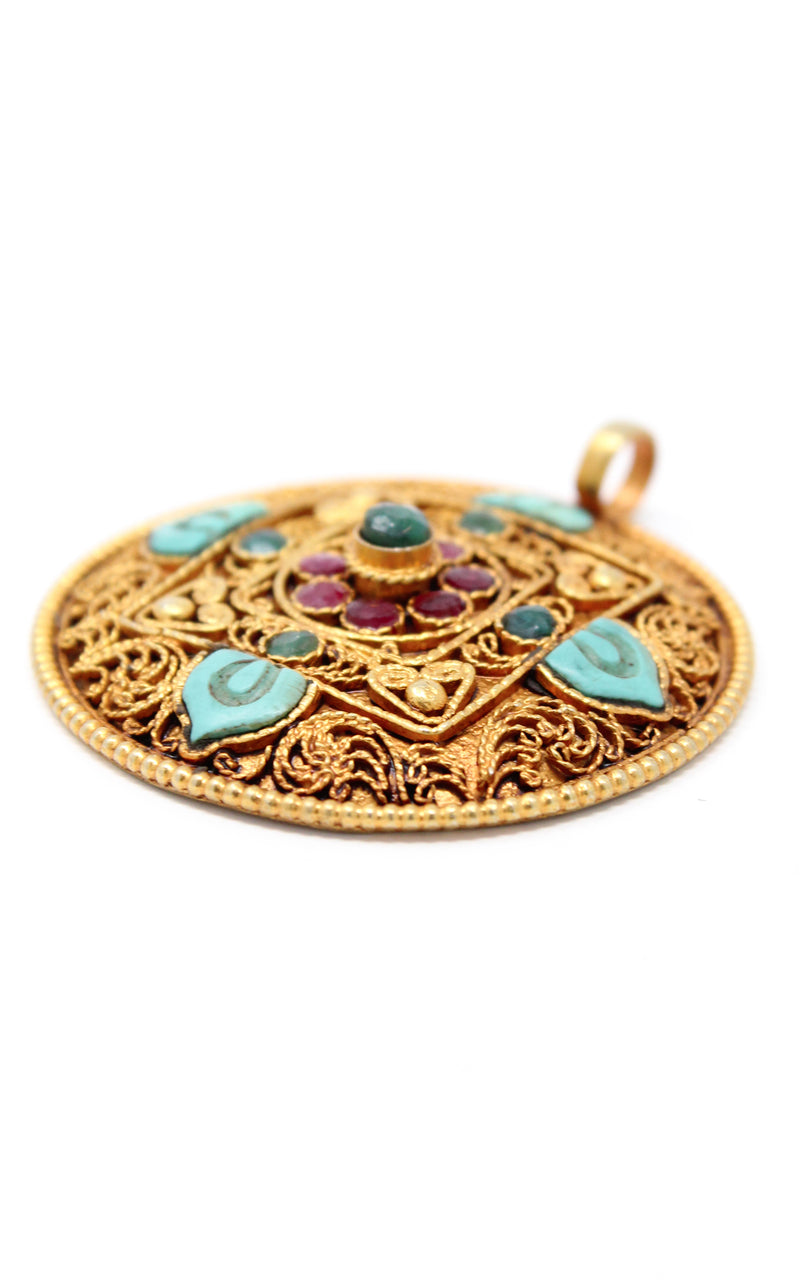 Circular Unique Gold Mandala Pendant Turquoise stones side view