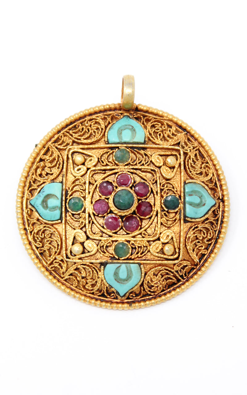 Circular Unique Gold Mandala Pendant  handmade  close up