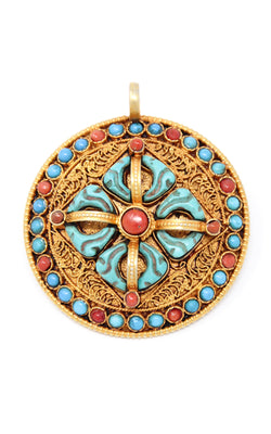 Circular Gold Double Dorjee Pendant turquoise coral accents