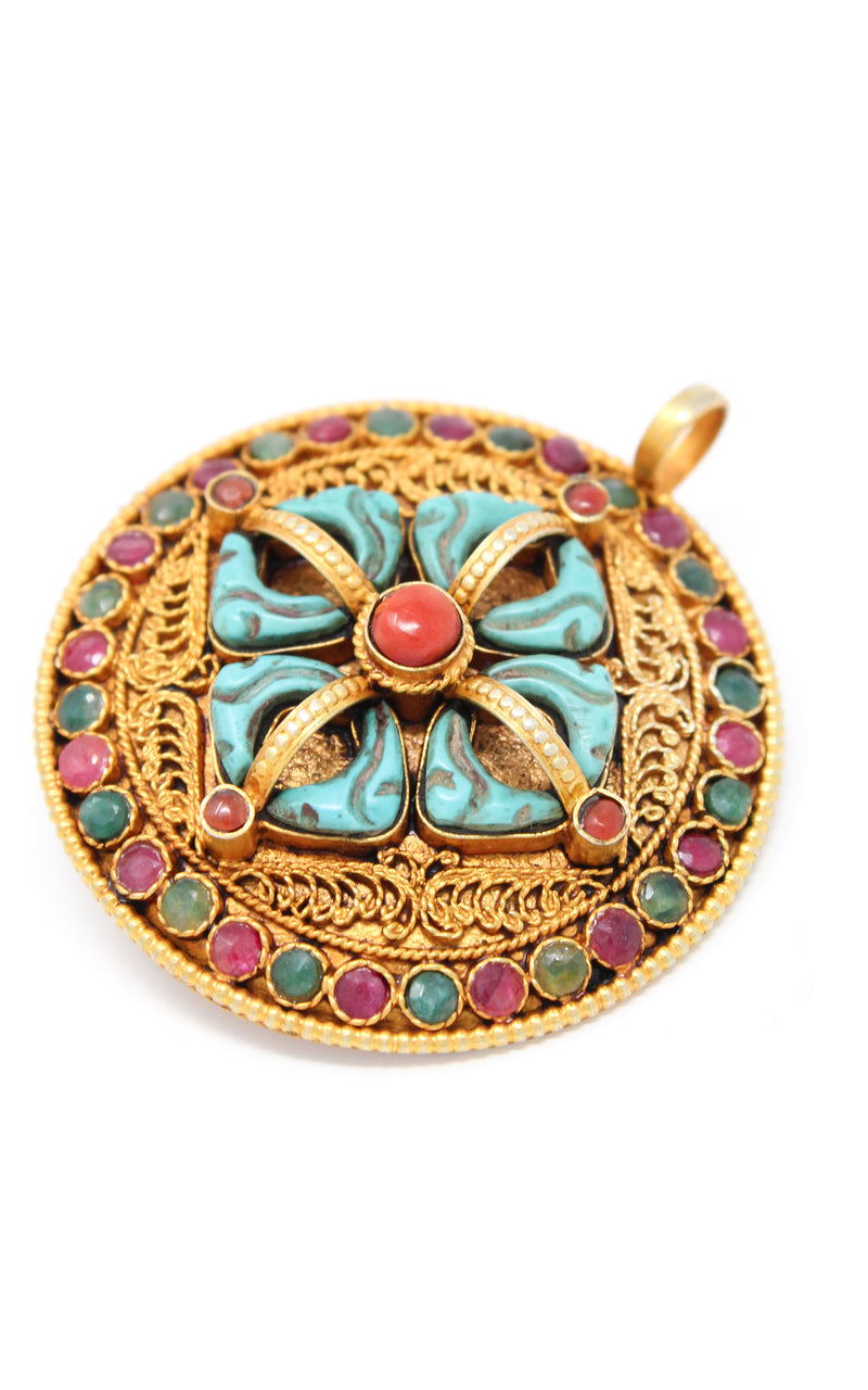 Circular Gold Double Dorjee Pendant turquoise coral accents close up