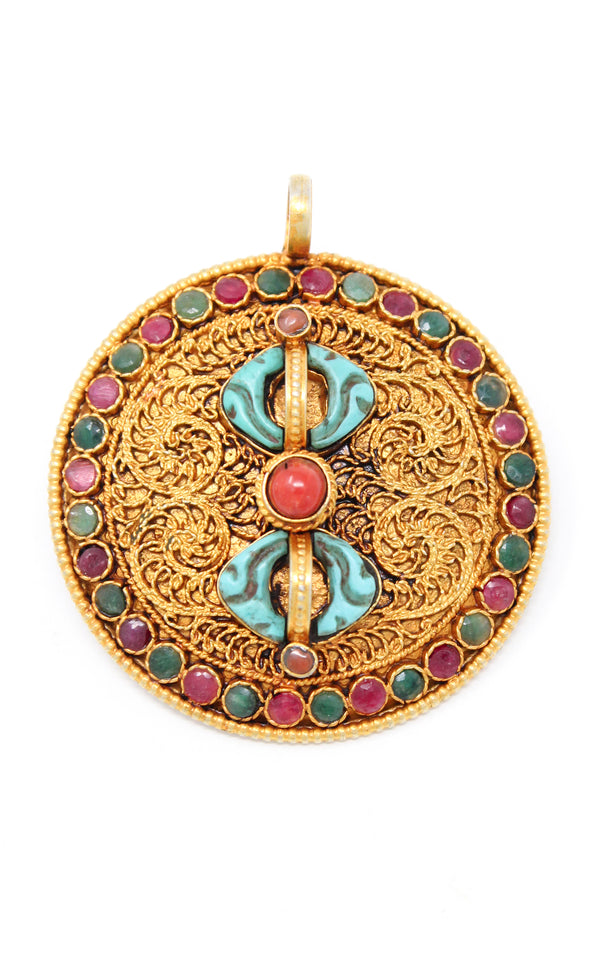 Circular Gold Dorjee Pendant turquoise coral ruby emerald