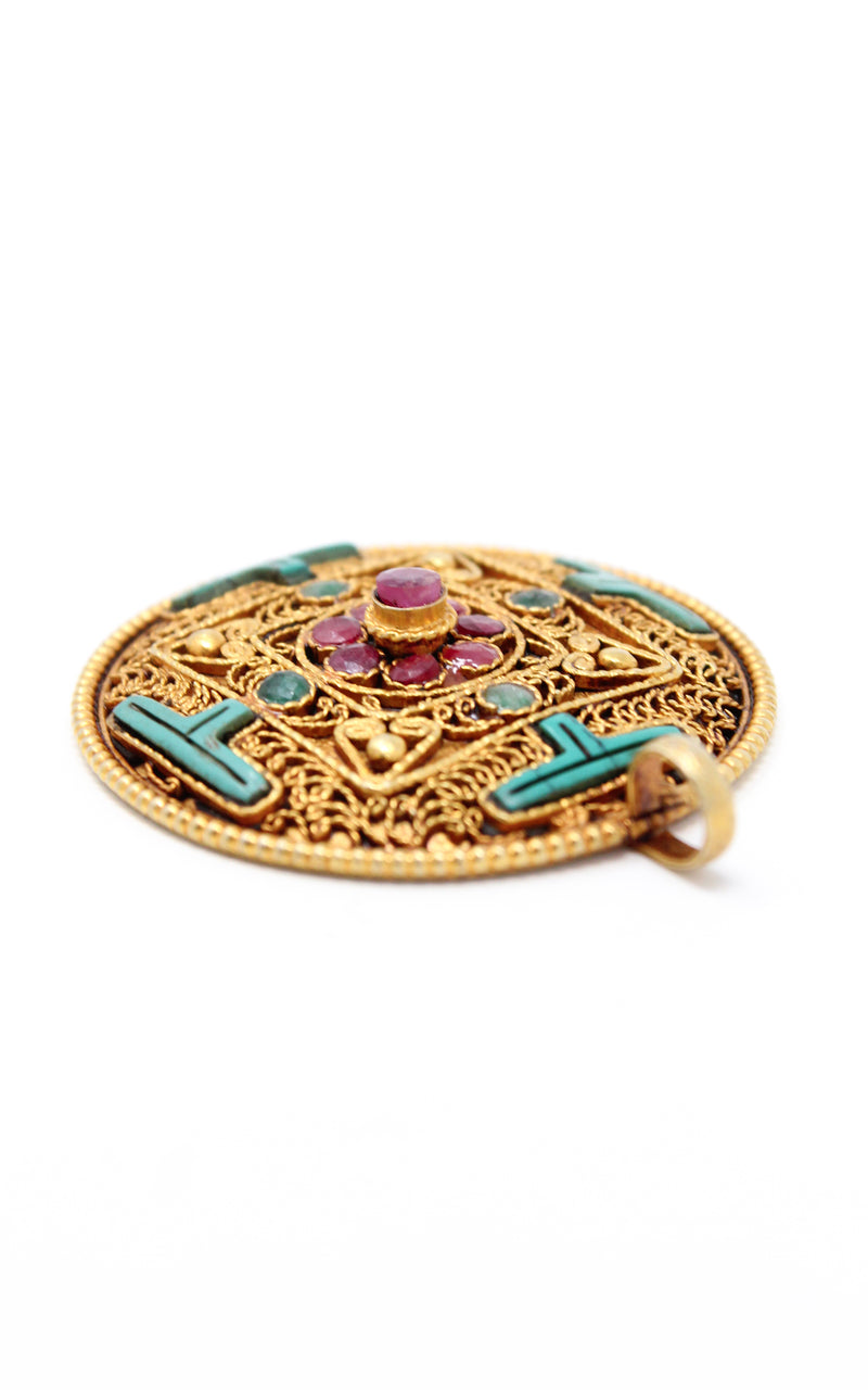 Circular Gold Plated Turquoise Mandala Pendant sideview