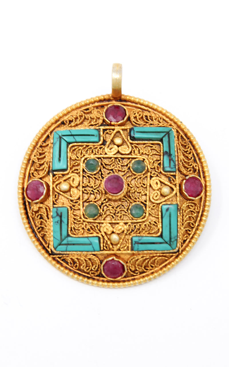 Geometric Gold Plated Tibetan Mandala Pendant turquoise ruby emerald close up