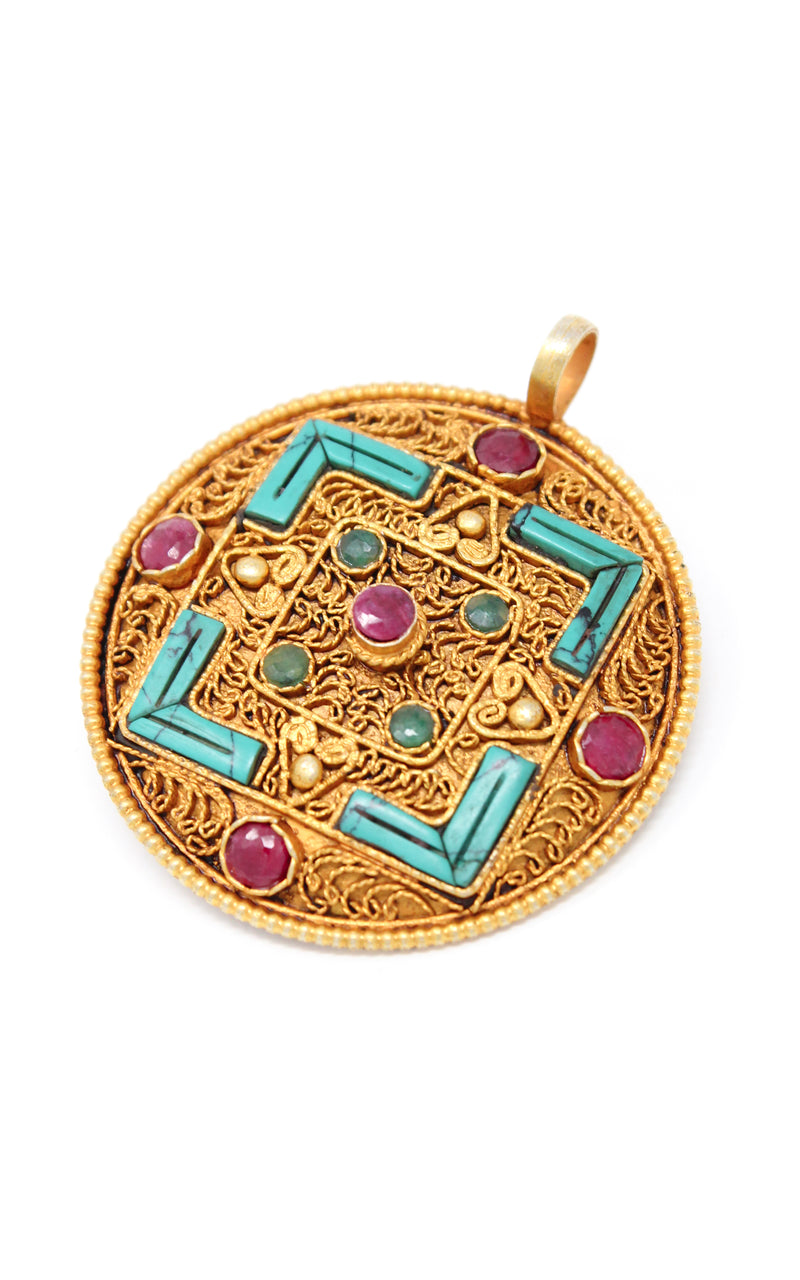Geometric Gold Plated Tibetan Mandala Pendant turquoise ruby emerald accents