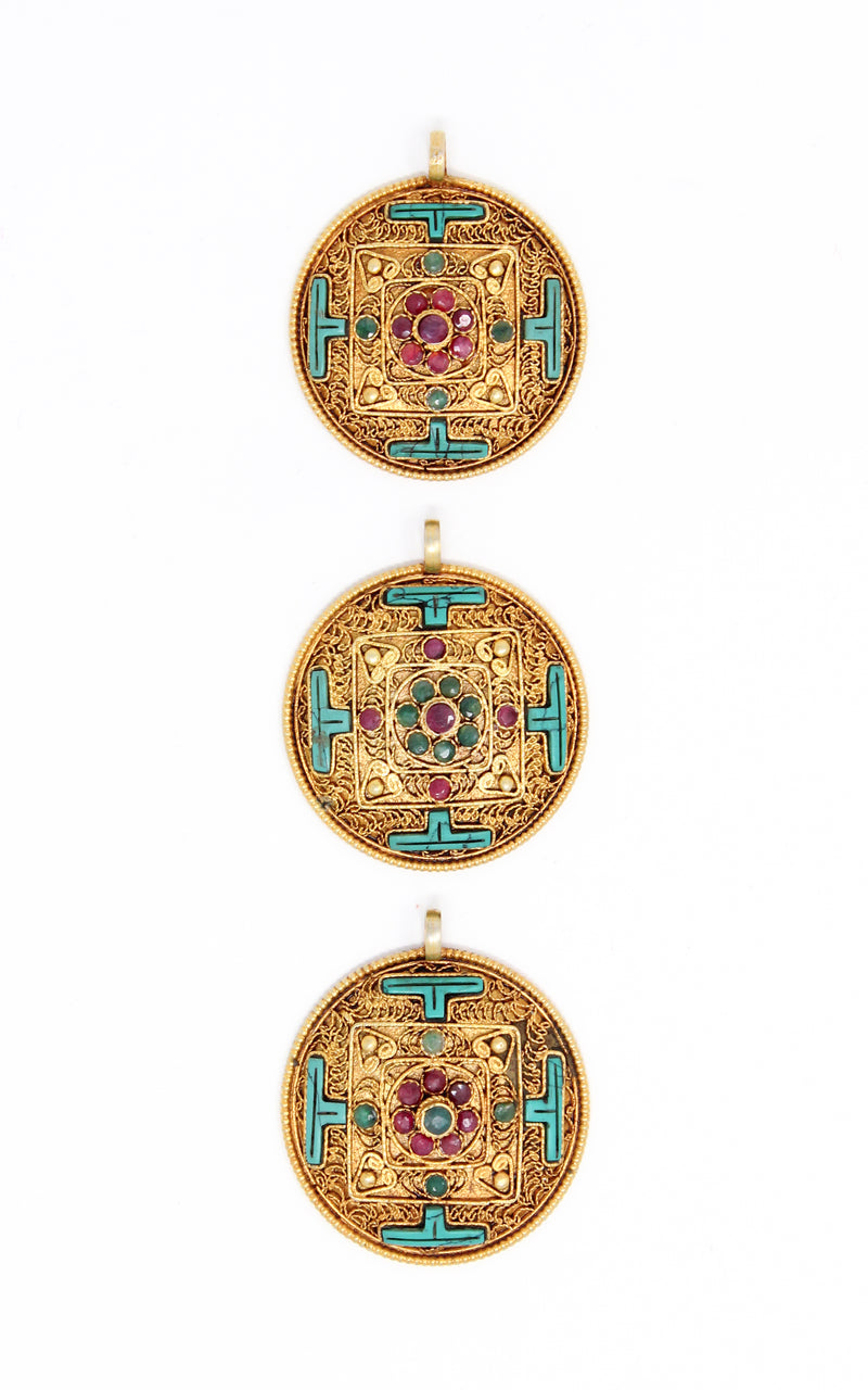 three Circular Gold Plated Turquoise Mandala Pendant turquoise ruby emerald stones