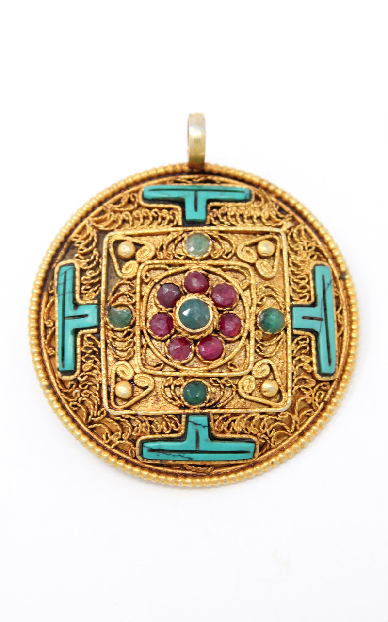 Circular Gold Plated Turquoise Mandala Pendant turquoise ruby emerald stones