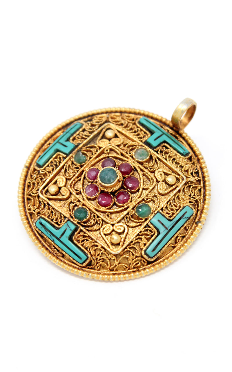 Circular Gold Plated Turquoise Mandala Pendant turquoise ruby emerald stones sideview