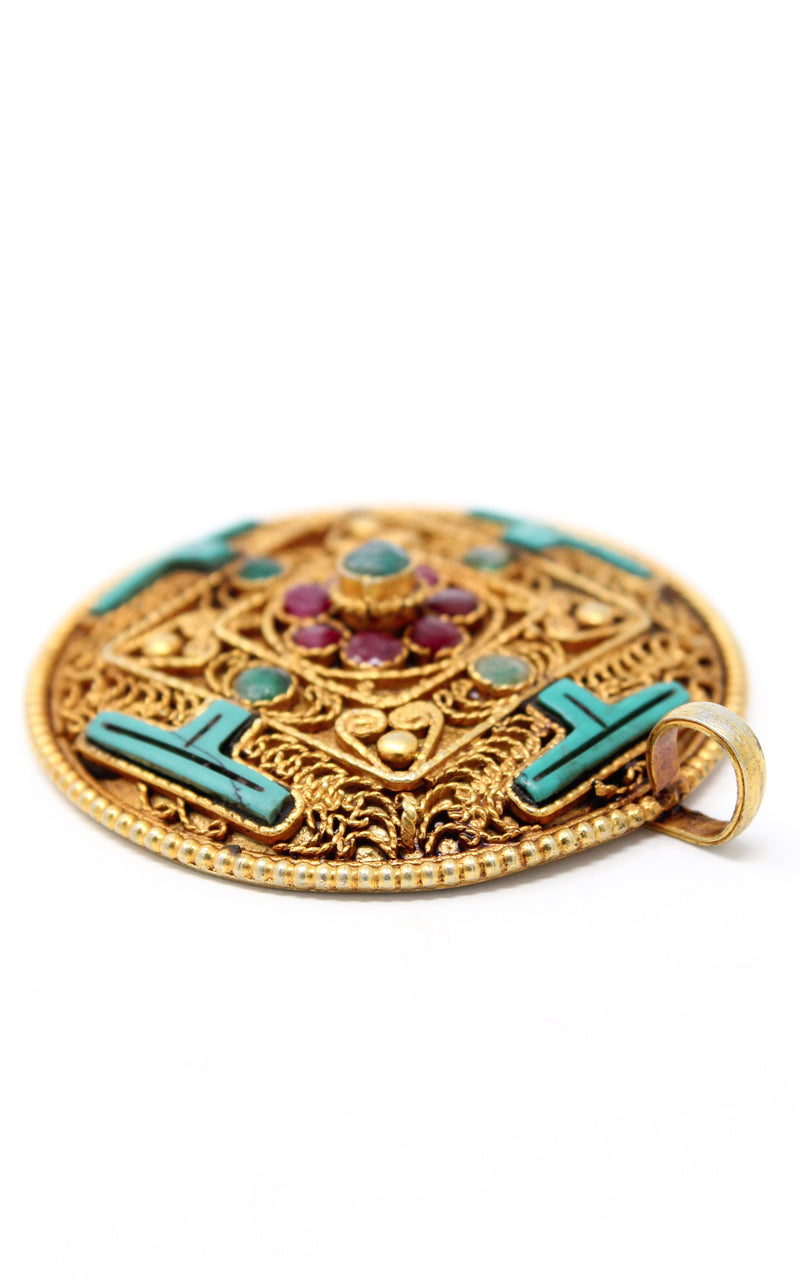 Circular Gold Plated Turquoise Mandala Pendant turquoise ruby emerald exterior