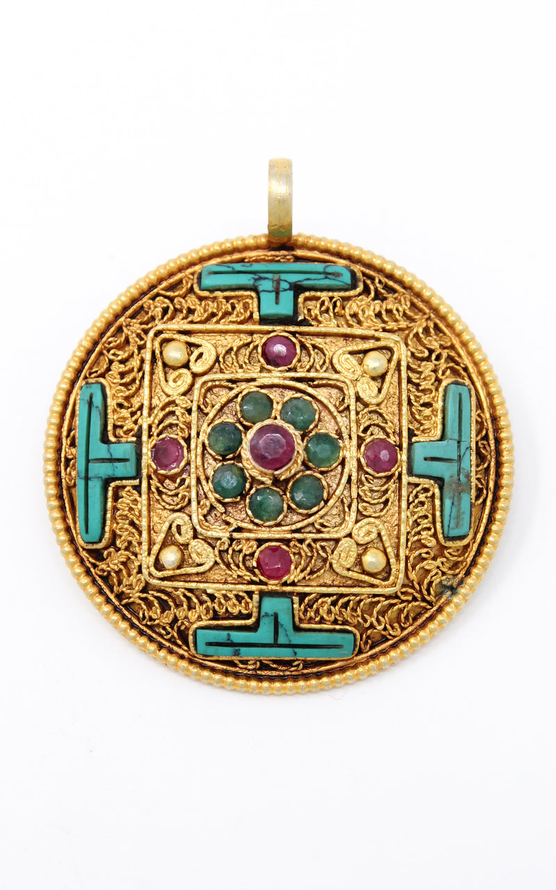 Circular Gold Plated Turquoise Mandala Pendant turquoise ruby emerald close up