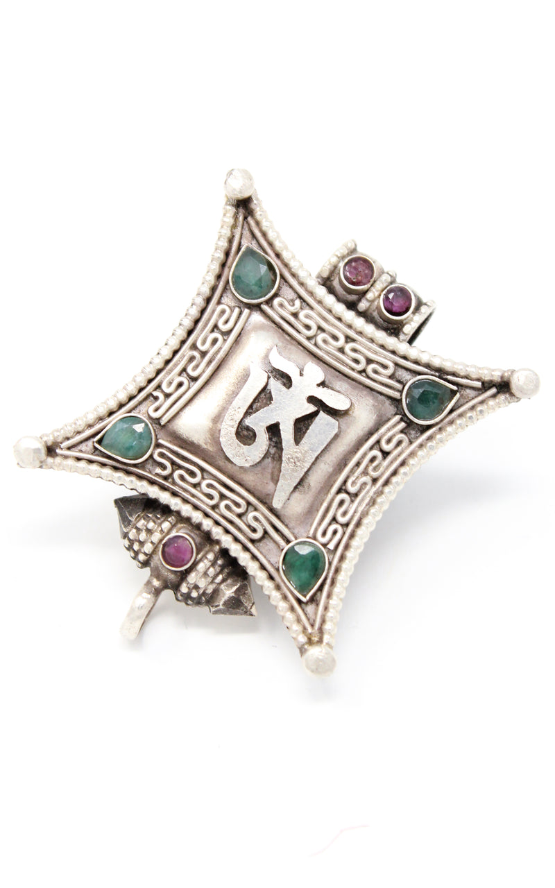 Silver Om Locket Pendant emerald ruby beads handmade tibetan jewellery