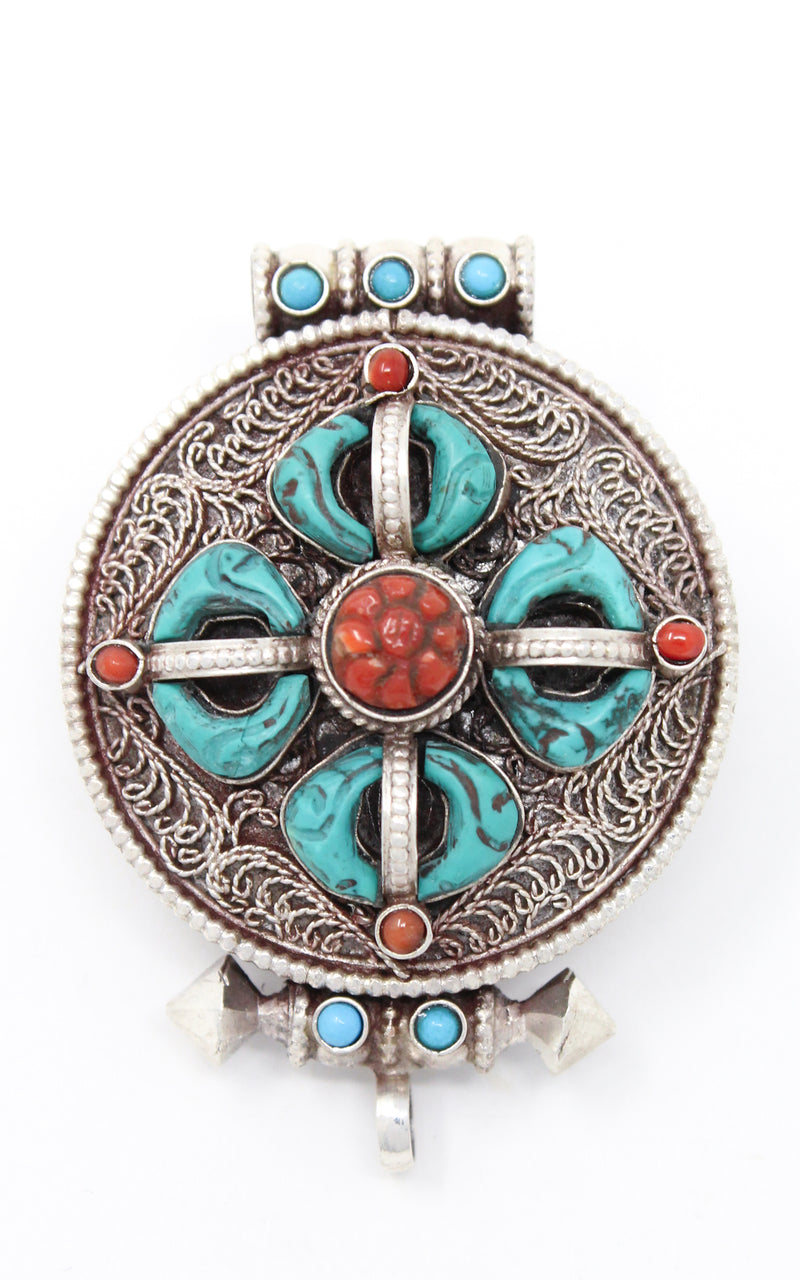 Double Dorjee Locket handmade Tibetan silver Pendant turquoise coral close up