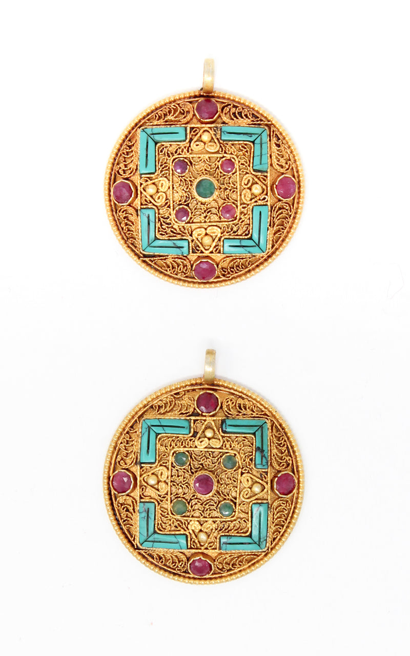 Two Geometric Gold Plated Tibetan Mandala Pendant turquoise ruby emerald accents